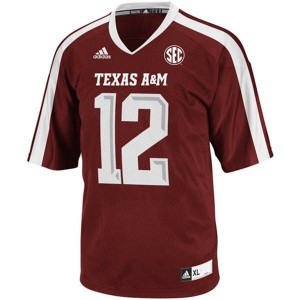 12th Man Texas A&M Aggies #12 - Maroon Red Football Jersey
