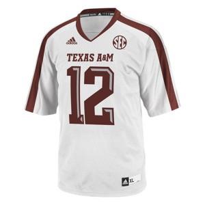 12th Man Texas A&M Aggies #12 - White Football Jersey