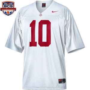 A.J. McCarron Alabama Crimson Tide #10 BCS Bowl Patch - White Football Jersey