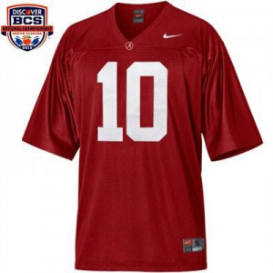 A.J. McCarron Alabama Crimson Tide #10 BCS Bowl Patch Youth - Crimson Red Football Jersey
