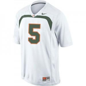Andre Johnson Miami Hurricanes #5 - White Football Jersey
