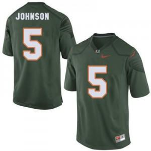 Andre Johnson Miami Hurricanes #5 Youth - Green Football Jersey