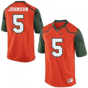 Andre Johnson U of M Hurricanes #5 Youth - Orange Football Jersey