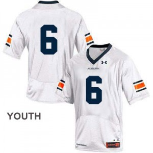 Auburn Tigers #6 College - White - Youth Football Jersey