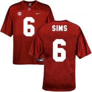 Blake Sims University of Alabama Crimson Tide #6 - Crimson Red Football Jersey