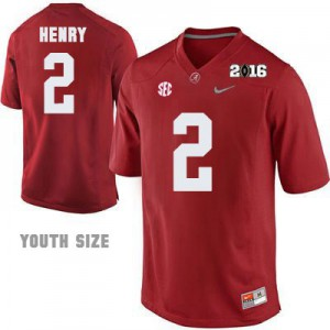 Derrick Henry #2 Alabama 2016 Championship Patch - Crimson - Youth Football Jersey