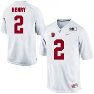 Derrick Henry #2 Alabama 2016 Championship Patch - White Football Jersey