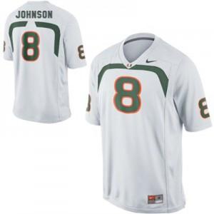 Duke Johnson U of M Hurricanes #8 Youth - White Football Jersey