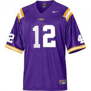 Jarrett Lee LSU Tigers #12 Mesh - Purple Football Jersey