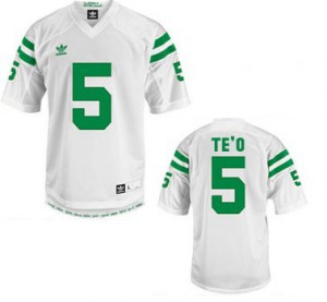 Manti Te'o Notre Dame Fighting Irish #5 Youth - White Football Jersey