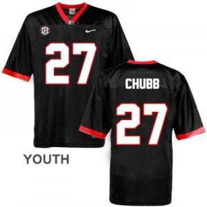 Nick Chubb Georgia Bulldogs #27 - Black - Youth Football Jersey