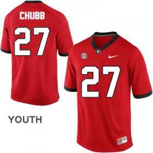 Nick Chubb Georgia Bulldogs #27 - Red - Youth Football Jersey