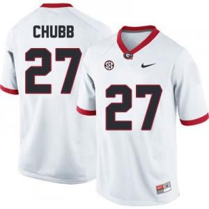 Nick Chubb Georgia Bulldogs #27 - White Football Jersey
