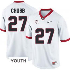 Nick Chubb Georgia Bulldogs #27 - White - Youth Football Jersey
