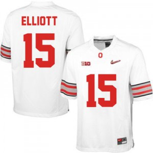Ezekiel Elliott OSU #15 Diamond Quest Playoff - White Football Jersey