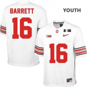 J.T. Barrett OSU #16 Diamond Quest 2015 Patch College - White - Youth Football Jersey