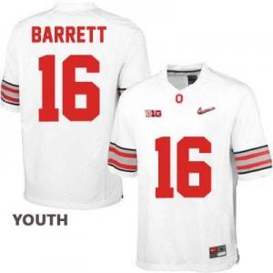 J.T. Barrett OSU #16 Diamond Quest Playoff - White - Youth Football Jersey