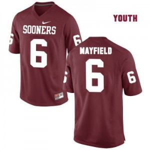 Oklahoma Sooners #6 Baker Mayfield Red - Youth Football Jersey