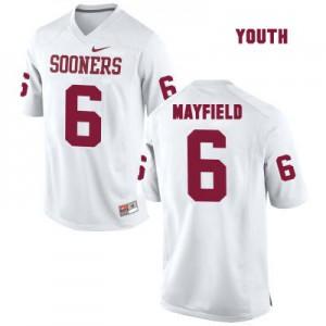 Oklahoma Sooners #6 Baker Mayfield White - Youth Football Jersey