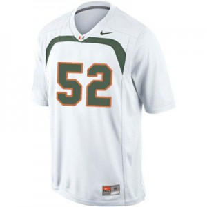Ray Lewis U of M Hurricanes #52 Youth - White Football Jersey