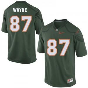 Reggie Wayne U of M Hurricanes #87 Youth - Green Football Jersey