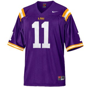 Spencer Ware LSU Tigers #11 Mesh Youth - Purple Football Jersey