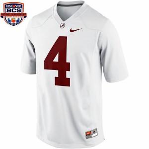 T.J. Yeldon Alabama Crimson Tide #4 BCS Bowl Patch - White Football Jersey