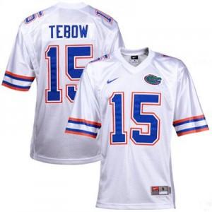 Tim Tebow Florida Gators #15 Youth - White Football Jersey