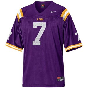 Tyrann Mathieu LSU Tigers #7 Mesh - Purple Football Jersey