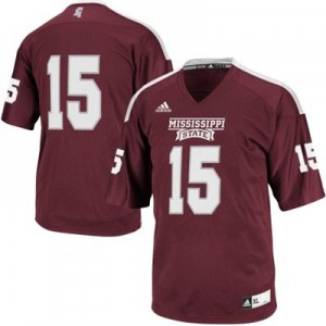 Mississippi State Bulldogs #15 - Maroon Red Football Jersey