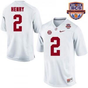 Derrick Henry Alabama Crimson Tide #2 Collegiate White - 2013 BCS Patch Football Jersey