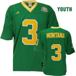 Joe Montana Notre Dame Fighting Irish #3 Youth - Green Football Jersey