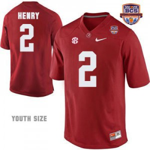 Youth Derrick Henry Alabama Crimson Tide #2 NCAA Red Patch - 2013 BCS Champion Football Jersey